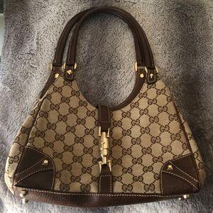 Authentic Gucci Bardot beige/brown GG Jacquard bag